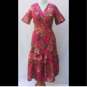 New EShakti Floral Fit & Flare Midi Dress 16W Plus